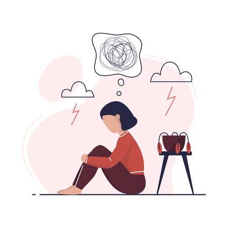 Depression woman sit on the floor. Psychology, depression, bad mood, stress. Unhappy young woman. Depression concept. Flat vector illustration.