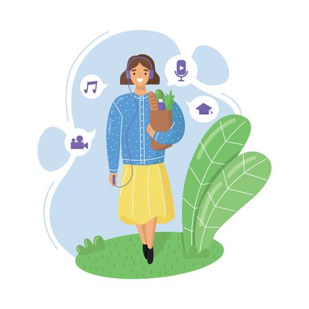 Young woman wearing headphones, goes shopping and listening to podcasts, online radio streaming, music or audiobooks. Flat vector illustration. Illusztráció