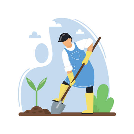A man with a shovel plants seedlings. Farmer planting vegetables using shovel. Concept of gardening, farming, working on land, natural production. Vector illustration.