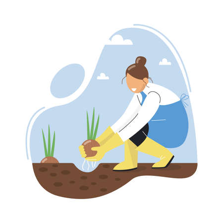 A woman planting an onion. A farmer grows onions. Growing onions in garden. Vector illustration. Illusztráció