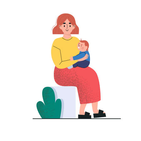 A woman sitting and holding a little baby. A mother and little son. Vector illustration. Illusztráció