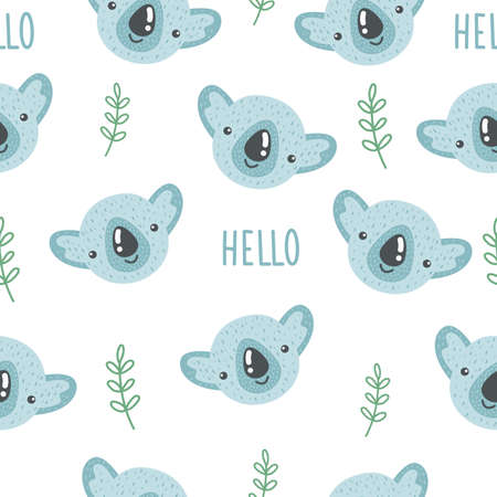 Cute seamless pattern with baby coala and lettering HELLO. Creative childish print. Great for fabric, textile. Vector illustration. Illusztráció