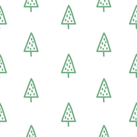 Seamless pattern with Christmas tree. Fur-tree. Fir tree. Doodle style. White background. Vector illustration.
