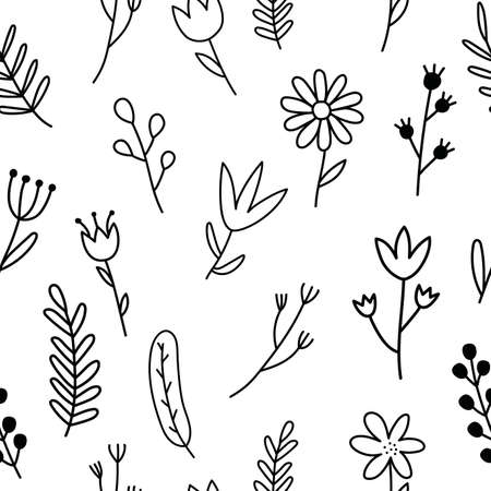 Seamless pattern with flowers. Hand draw black flowers. Doodle style. White background. Vector illustration.