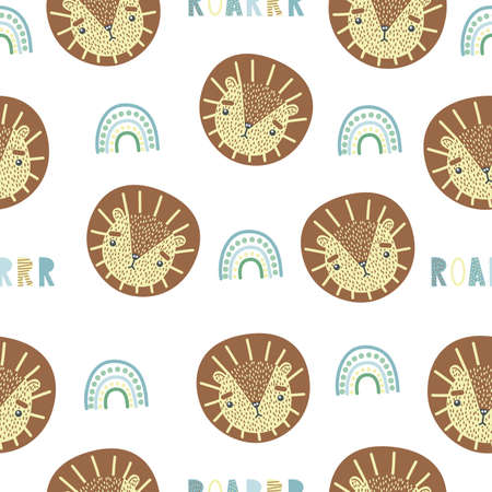 Cute seamless pattern with baby lion, rainbow and lettering ROAR. Creative childish print. Great for fabric, textile. Vector illustration. Illusztráció
