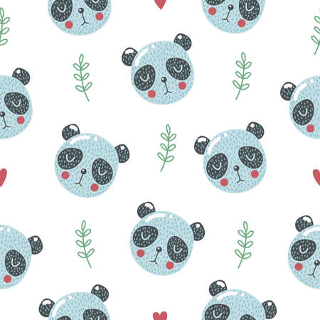 Cute seamless pattern with baby panda. Creative childish print. Great for fabric, textile. Vector illustration.
