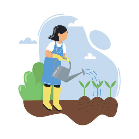 A young woman watering seedlings. Gardening, outdoor activity. Work in a garden. Vector illustration. Illusztráció