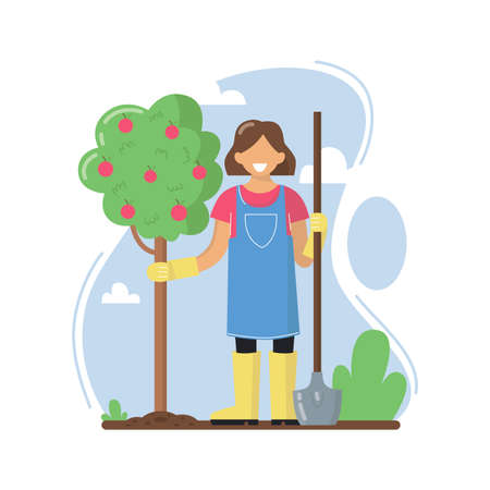A young woman planted an Apple tree. A woman works in the garden. A woman stands with a shovel in her hand. Vector illustration. Illusztráció