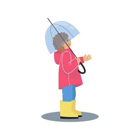 Little boy with an umbrella. Boy wearing a red raincoat and yellow rubber boots. Cartoon vector illustration on white background.