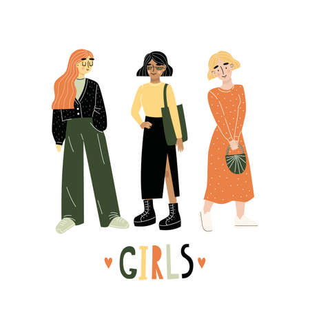 Three young women or girls dressed in trendy clothes standing together. Group of friends. Lettering GIRLS. Hand draw. Female cartoon characters isolated on white background. Vector illustration.
