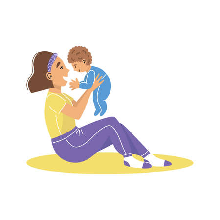 A young woman mother holding baby boy in arms. Mom hugs her baby. Mother with a baby. Vector illustration.