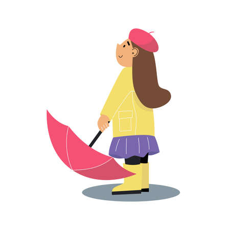 Little girl with an umbrella. Girl wearing an yellow raincoat and yellow rubber boots. Cartoon vector illustration on white background. Illusztráció