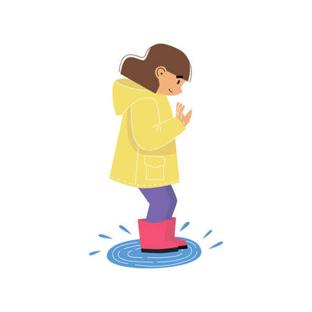 Cute little girl wearing yellow raincoat and jumping on a rain puddle. Rainy weather play. Cartoon vector illustration on white background. Illusztráció
