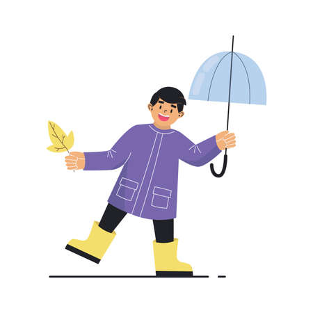 Boy with an umbrella and an autumn leaf. Boy wearing a raincoat and yellow rubber boots. Cartoon vector illustration on white background. Illusztráció