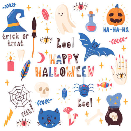Set of vector elements for Halloween with letterig. Pumpkin, poison, witches broom, candy, boo, cat, ghost, bat, crystal, mushrooms, skull. Vector illustration