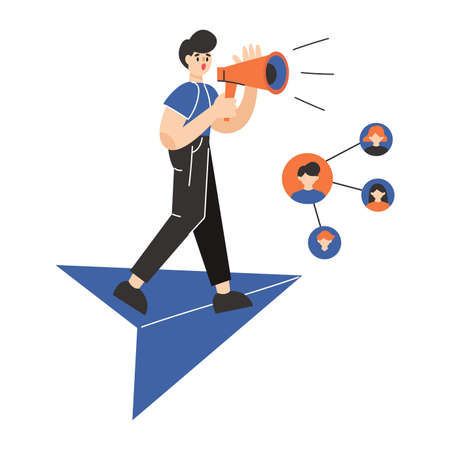 Man speaks through a megaphone. Digital marketing, SMM, repost concept. Flat vector illustration. Illusztráció