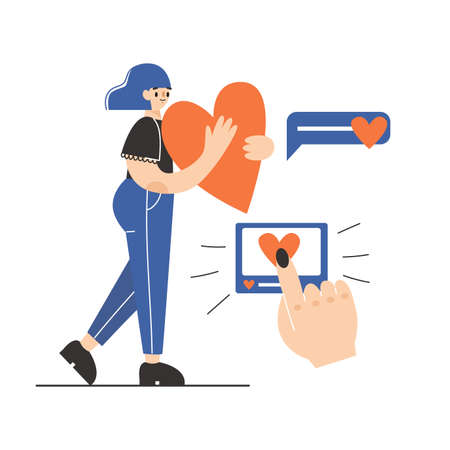A woman holding a big heart. Like concept. Vector flat illustration. White background.