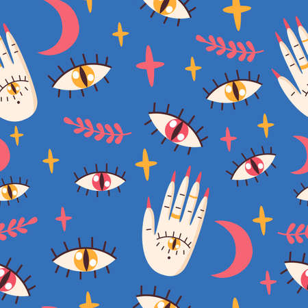 Seamless pattern with eyes, palm.Vector illustration. Illusztráció