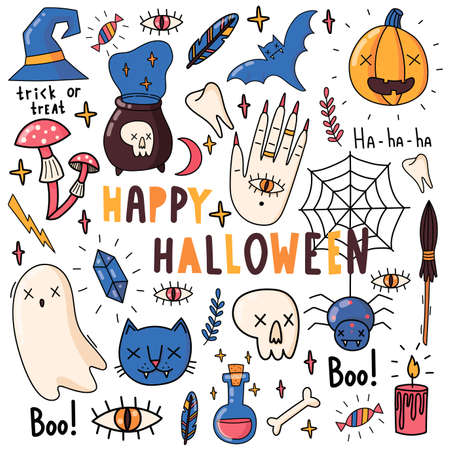 Set of vector elements for Halloween. Pumpkin, poison, witches broom, candy, boo, cat, ghost, bat, crystal, mushrooms, skull. Vector illustration.