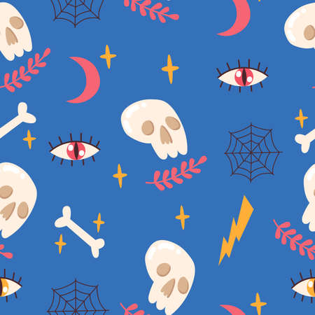 Seamless pattern with skull, bone, eye, moon, stars, spider web. Vector illustration. Illusztráció
