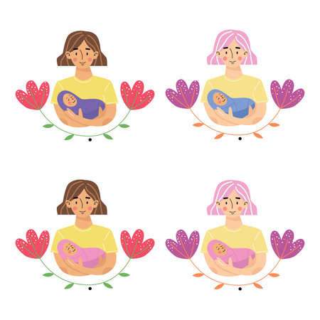 Mother holding baby son or daughter in arms. Mother and newborn son or daughter. Use for greeting card, poster, banner. Floral background. Vector illustration. Illusztráció