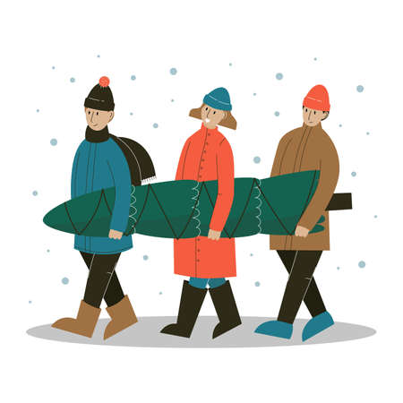 People carrying Christmas tree. Merry people with fir tree outdoors. Flat vector illustration.
