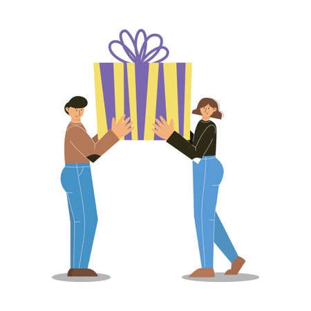 Happy man and woman with gift box. Man and woman holding a big present in arms together. Vector illustration.