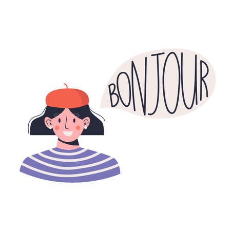 A young smiling woman says Bonjour. French woman. Flat vector illustration