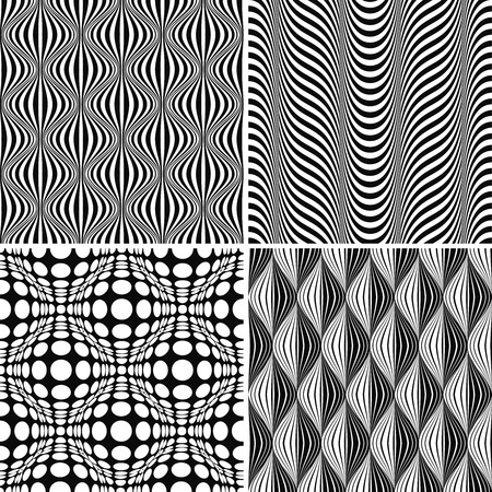 Seamless Op Art Background Pattern Set, illustration