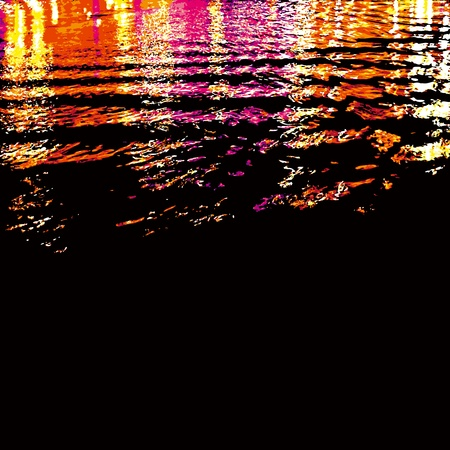 Colorful Citylight Reflections On Water Surface