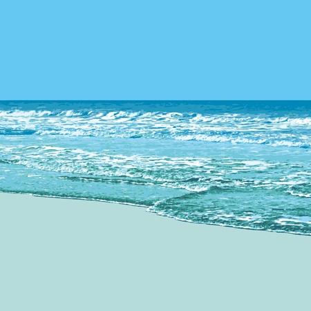 cielo y mar: Soleado fondo de playa Vectores