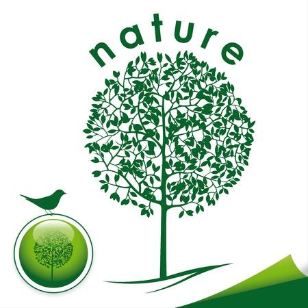 green tree icon with button and bird Ilustração