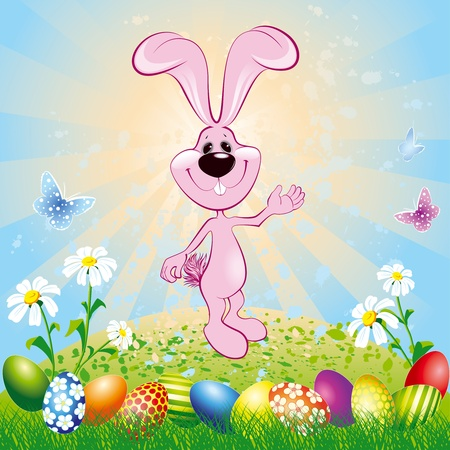 Easter bunny on green meadow with easter eggs Illustration