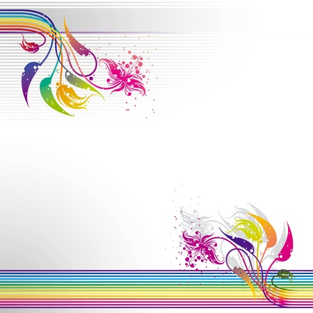 leaf line: Abstract colorful striped background with floral design elements
