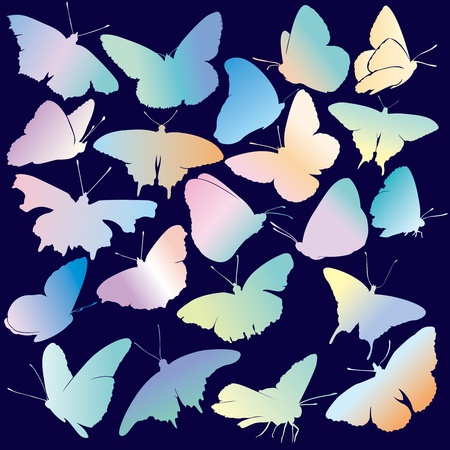 Colored Butterfly Silhouette Set