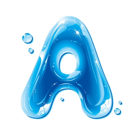 ABC series - Water Liquid Letter - Capital A Vector