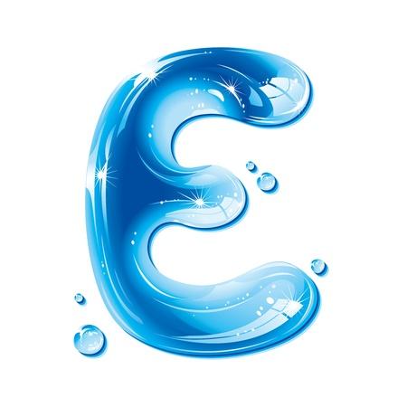 capitel: Serie de ABC - agua líquida carta - Capital E