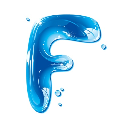 majuscule: ABC series - Water Liquid Letter - Capital F Illustration