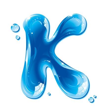 ABC series - Water Liquid Letter - Capital K Illustration