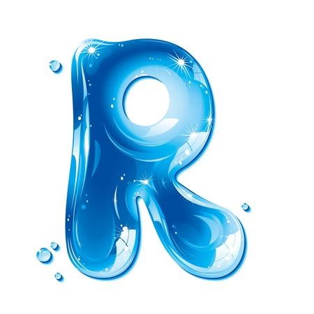ABC serie - Water vloeibare Letter - hoofdstad r Vector Illustratie