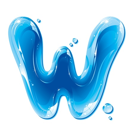 ABC series - Water Liquid Letter - Capital W Illustration