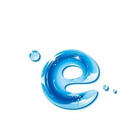 reflectie water: ABC-serie - Water Liquid Letter - kleine letter e Stock Illustratie