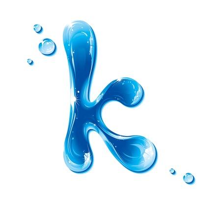 letter liquid water: Serie de la ABC - Carta de agua líquida - k minúscula