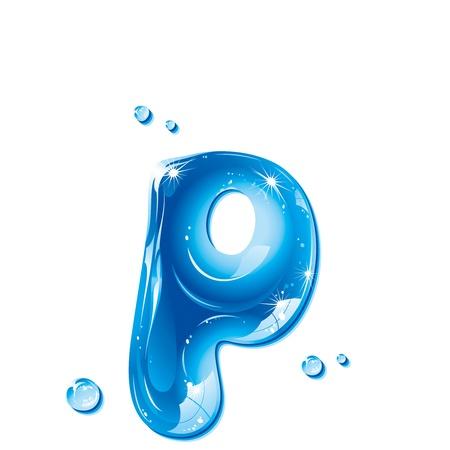 letter liquid water: Serie de la ABC - Carta de agua líquida - p minúscula