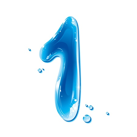 ABC series - Water Liquid Numbers - Number One Stock Vector - 11237163