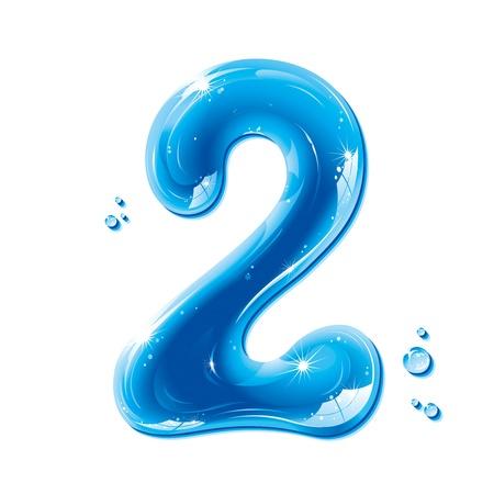 nombres: ABC s�ries - Num�ros eau liquide - Number Two Illustration