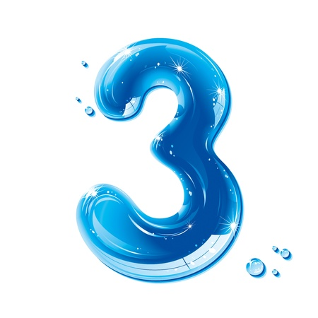 digit 3: ABC series - Water Liquid Numbers - Number Three