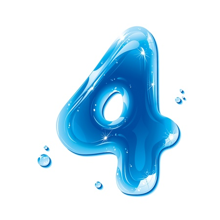 cijfer vier: ABC-serie - Water Liquid Numbers - Number Four