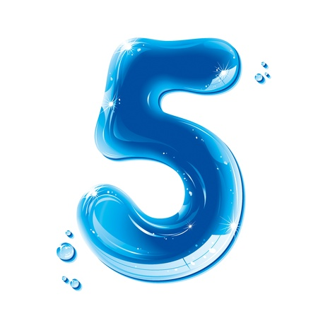 Serie de la ABC - Números de agua líquida - Número Cinco Ilustración de vector
