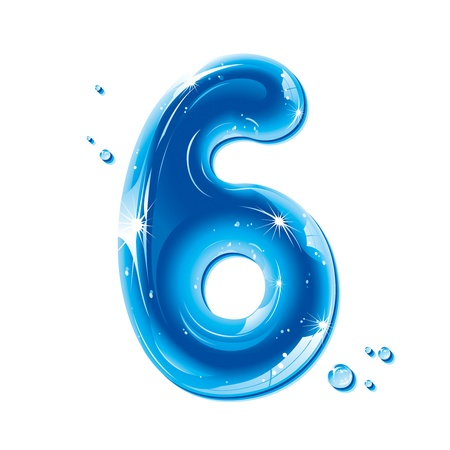 numbers: ABC series - Water Liquid Numbers -  Number Six Illustration